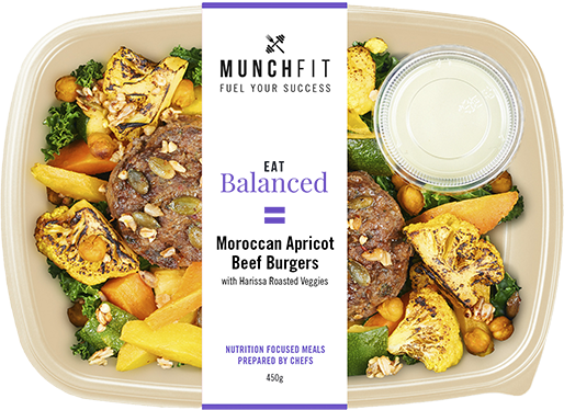 moroccan apricot beef burgers meal - lean